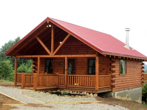 cabin with red roof